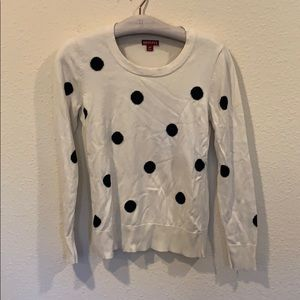 Polka dot crew neck pullover sweater